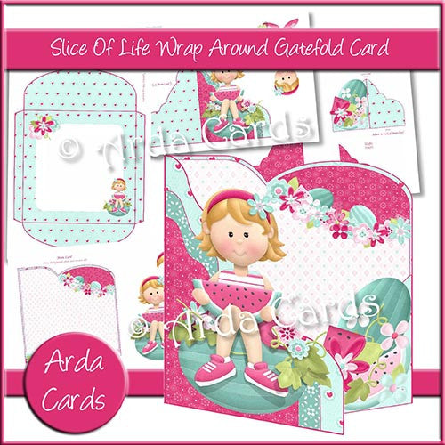 Slice Of Slice Wrap Around Gatefold Card - The Printable Craft Shop