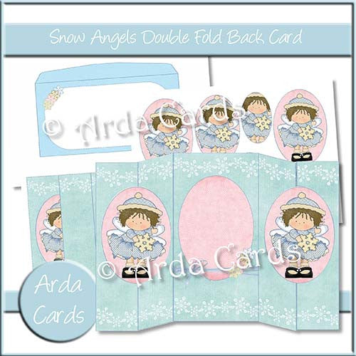 Snow Angels Double Foldback Card - The Printable Craft Shop