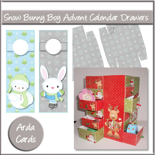 Snow Bunny Boy Advent Calendar Drawers - The Printable Craft Shop