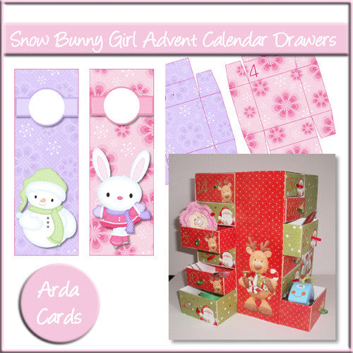 Snow Bunny Girl Advent Calendar Drawers - The Printable Craft Shop
