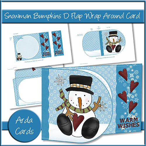 Snowman Bumpkins D Flap Wrap Around Card - The Printable Craft Shop