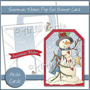 Snowman Wishes Pop Out Banner Card - The Printable Craft Shop
