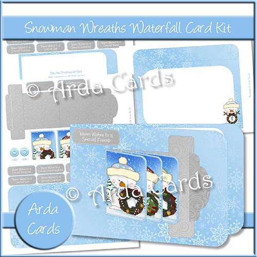 Snowman Wreaths Waterfall Card Kit - The Printable Craft Shop