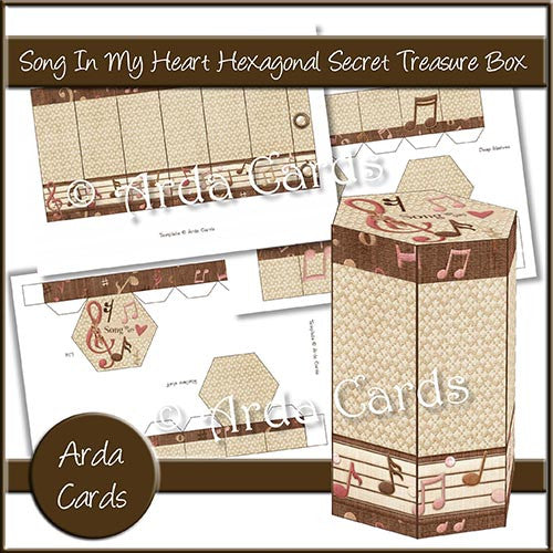Song In My Heart Hexagonal Secret Treasure Box - The Printable Craft Shop