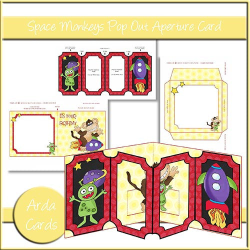 Space Monkey Pop Out Aperture Card - The Printable Craft Shop