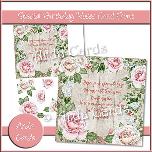 Special Birthday Roses Card Front - The Printable Craft Shop