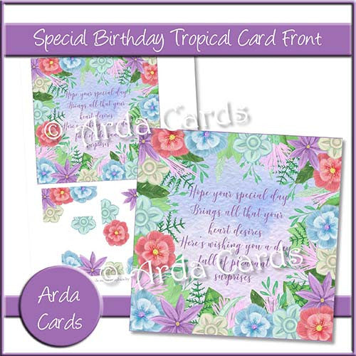 Special Birthday Tropical Card Front - The Printable Craft Shop