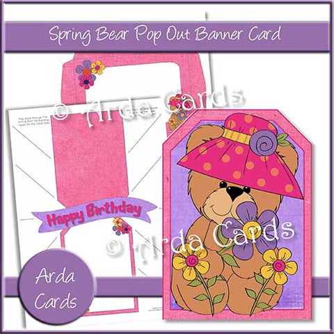 Spring Bear Printable Pop Out Banner Card