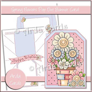 Spring Flowers Printable Pop Out Banner Card - The Printable Craft Shop