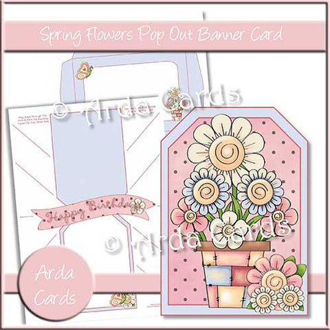 Spring Flowers Printable Pop Out Banner Card
