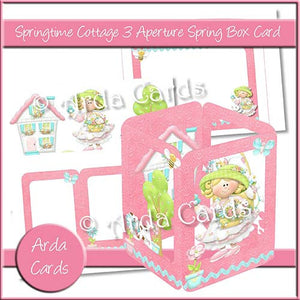 Springtime Cottage 3 Aperture Spring Box Card - The Printable Craft Shop