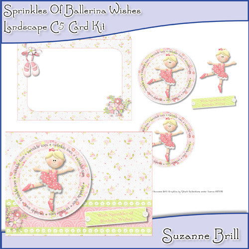 Sprinkles Of Ballerina Wishes Landscape C5 Card - The Printable Craft Shop
