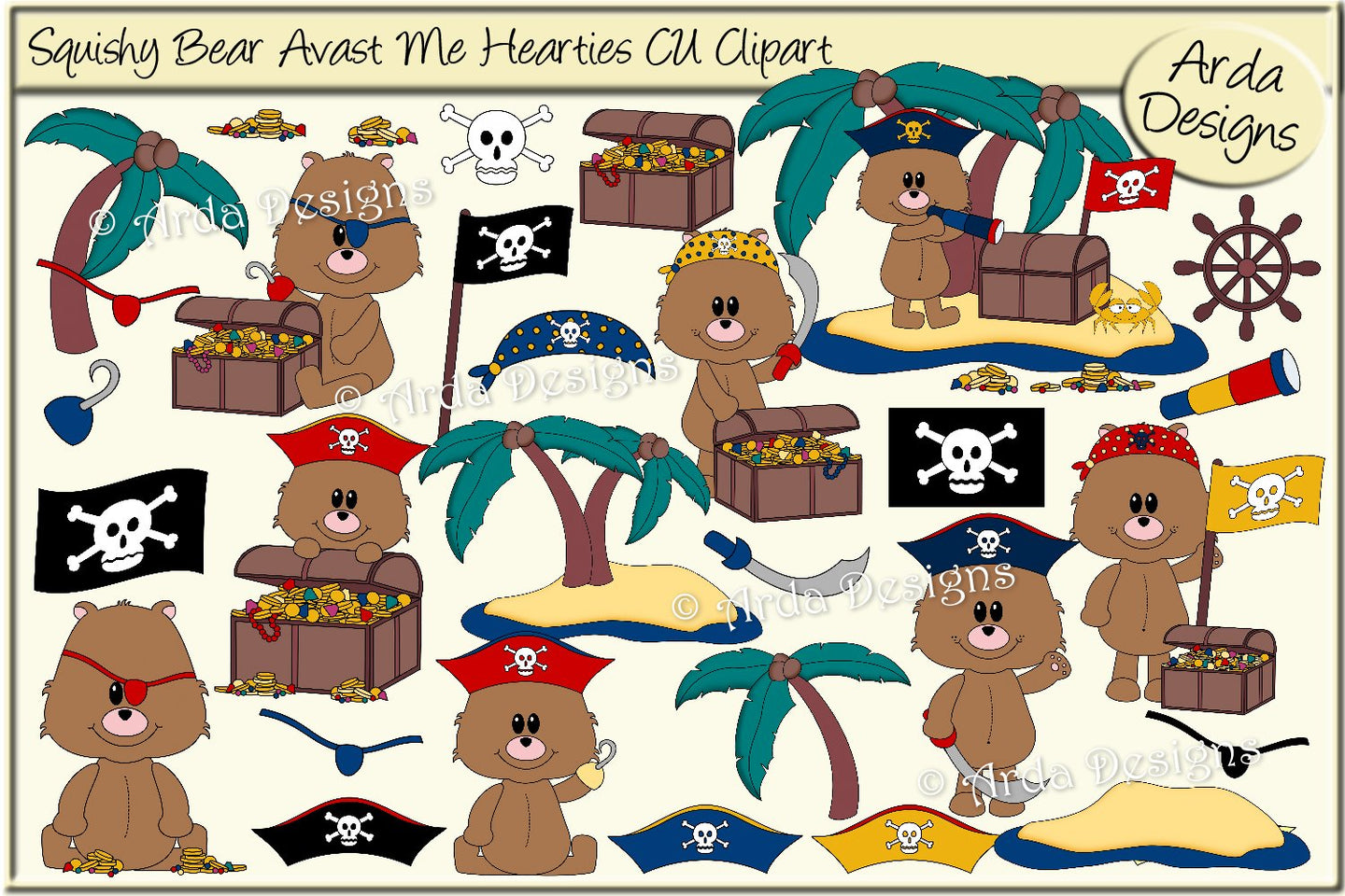 Squishy Bear Avast Me Hearties CU Clipart