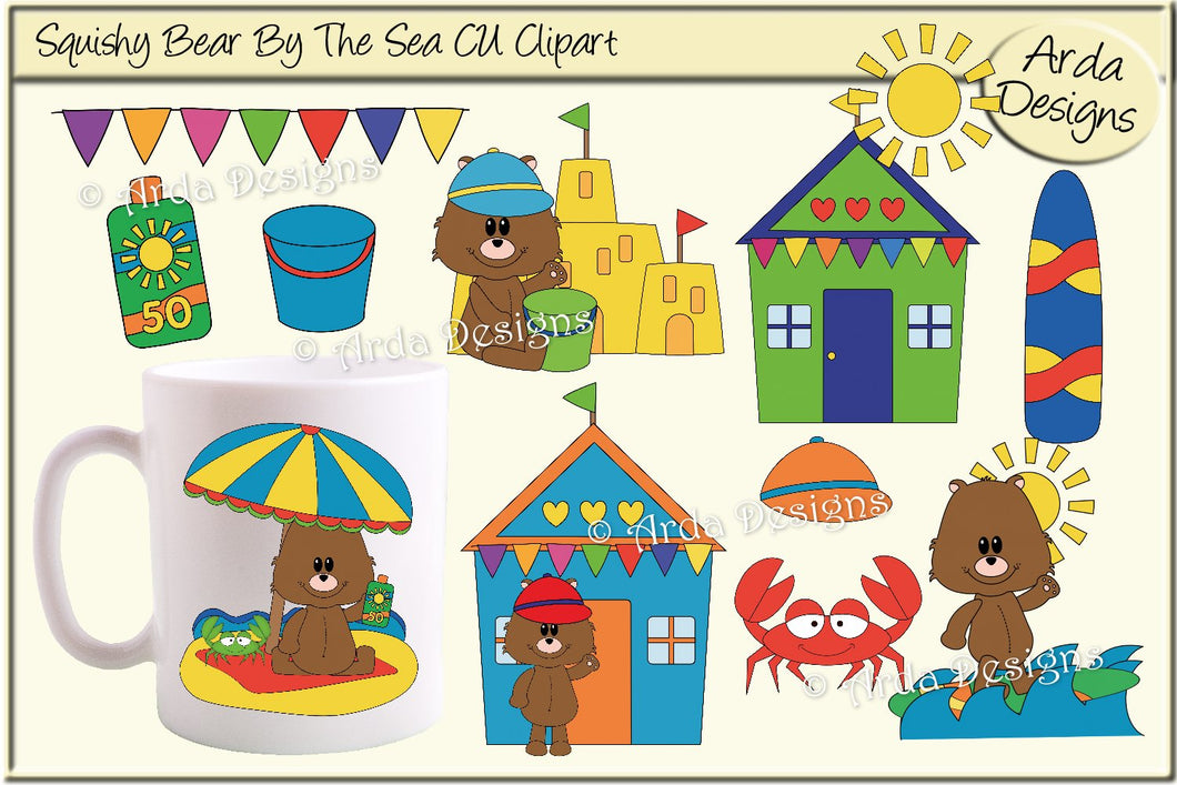 Squishy Bear By The Sea CU Clipart