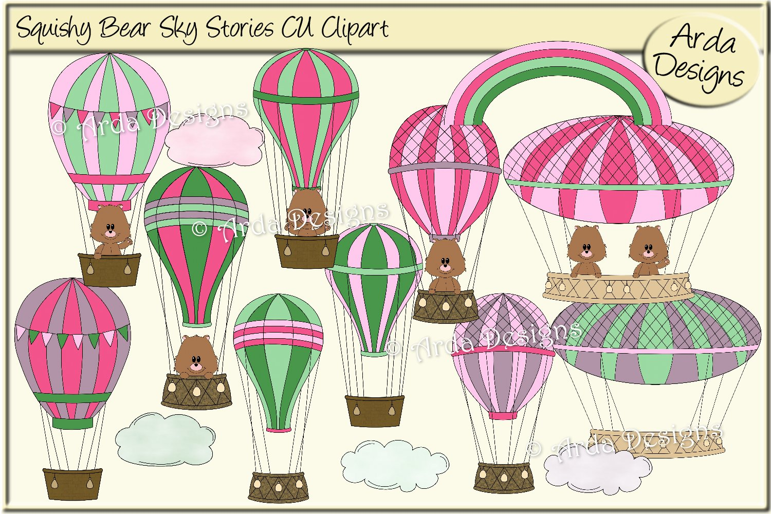 Squishy Bear Sky Stories CU Clipart