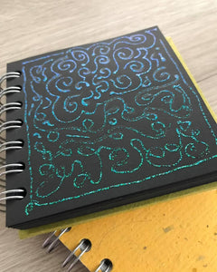 Emerald Green 4x4 Sketchbook - BLACK Pages - 150gsm Cartridge Paper