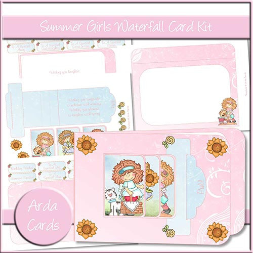 Summer Girls Waterfall Card Kit - The Printable Craft Shop