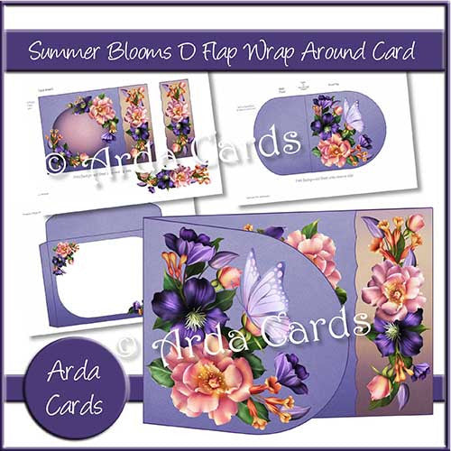 Summer Blooms Printable D Flap Wrap Around Card - The Printable Craft Shop - 1