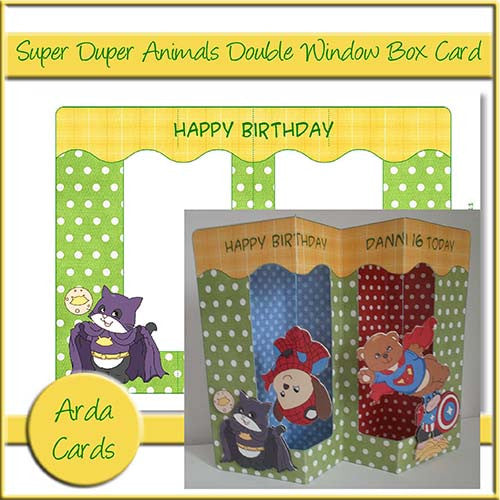 Super Duper Animals Double Window Box Card - The Printable Craft Shop