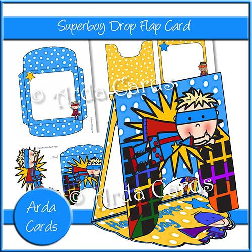 Superboy Drop Flap Card - The Printable Craft Shop