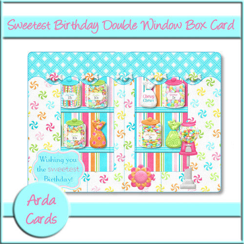 Sweetest Birthday Double Window Box Card - The Printable Craft Shop