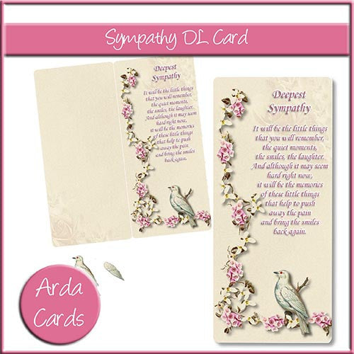 Sympathy DL Style Card - The Printable Craft Shop
