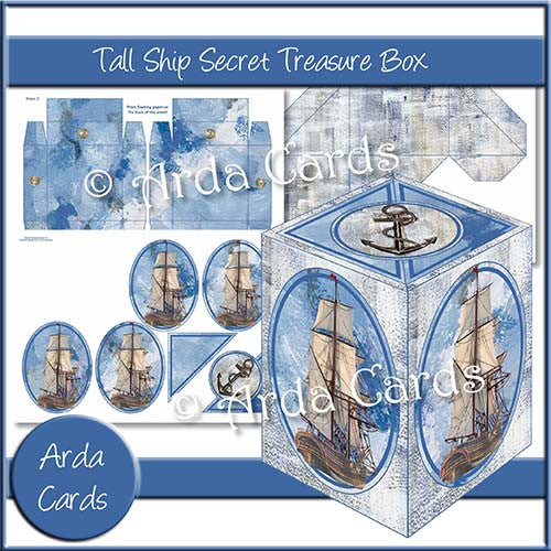 Tall Ship Secret Treasure Box - The Printable Craft Shop