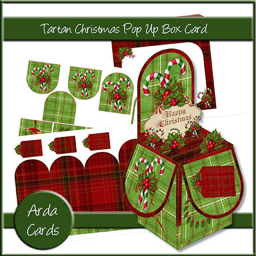 Tartan Christmas Printable Pop Up Box Card - The Printable Craft Shop