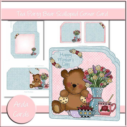 Tea Party Bear Scalloped Corner Card - The Printable Craft Shop