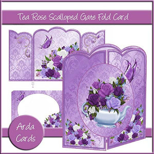 Tea Rose Scalloped Gatefold Card - The Printable Craft Shop
