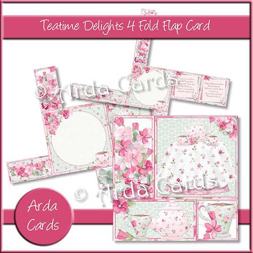 Teatime Delights 4 Fold Flap Card - The Printable Craft Shop - 1