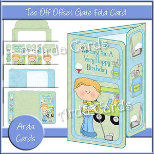 Tee Off Offset Gate Fold Card - The Printable Craft Shop