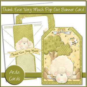 Thank Ewe Very Much Pop Out Banner Card - The Printable Craft Shop