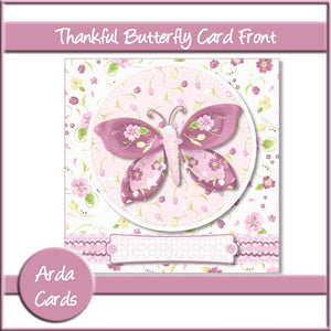 Thankful Butterfly 6x6 Card Front - The Printable Craft Shop