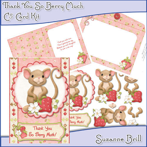Thank You So Berry Much C5 Card Kit - The Printable Craft Shop