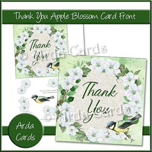 Thank You Apple Blossom Card Front - The Printable Craft Shop