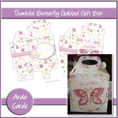 Thankful Butterfly Gabled Gift Box - The Printable Craft Shop