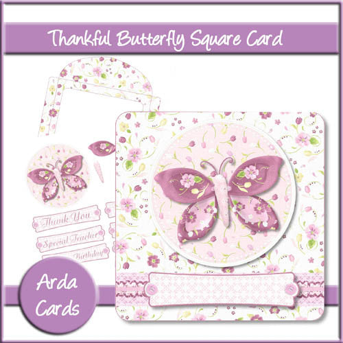 Thankful Butterfly Square Card - The Printable Craft Shop