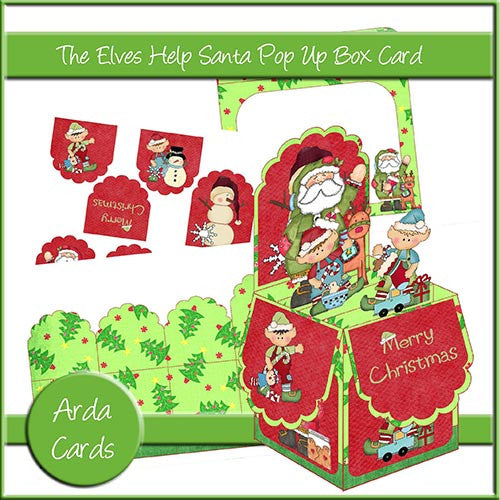 The Elves Help Santa Pop Up Box Card - The Printable Craft Shop