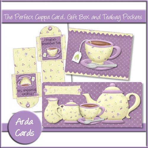 The Perfect Cuppa Card, Gift Box And Teabag Pockets - The Printable Craft Shop