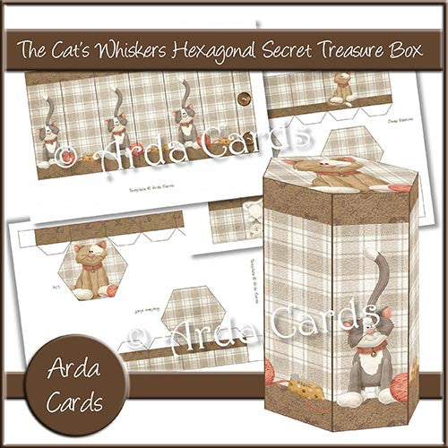 The Cat's Whiskers Hexagonal Secret Treasure Box - The Printable Craft Shop