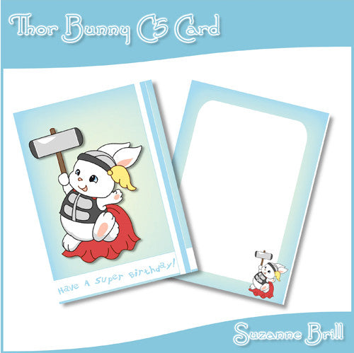 Thor Bunny C5 Card - The Printable Craft Shop