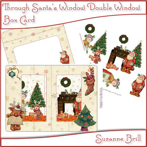 Through Santa's Window Printable Double Window Box Card - The Printable Craft Shop