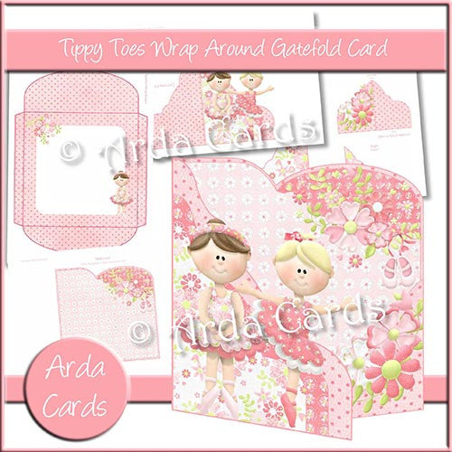 Tippy Toes Wrap Around Gatefold Card - The Printable Craft Shop