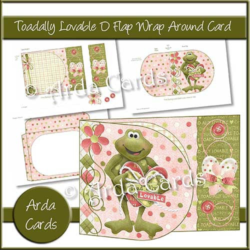 Toadally Lovable Printable D Flap Wrap Around Card - The Printable Craft Shop - 1