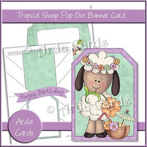 Tropical Sheep Printable Pop Out Banner Card - The Printable Craft Shop