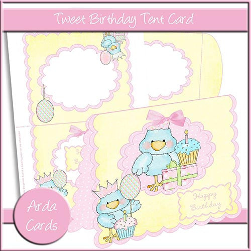 Tweet Birthday Tent Card - The Printable Craft Shop