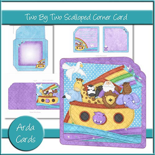 Two By Two Scalloped Corner Card - The Printable Craft Shop