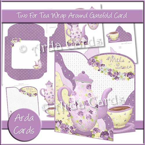 Two For Tea Wrap Around Gatefold Card - The Printable Craft Shop