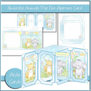 Umbrella Animals Pop Out Aperture Card